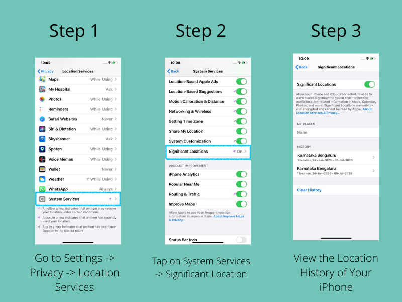 You can view the iPhone Location History with the Settings for Significant Location History.