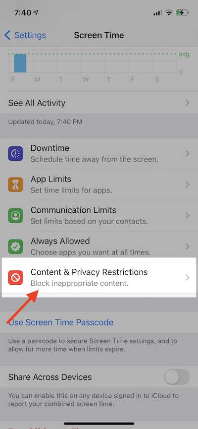 Click on Content Privacy Screen Time iOS