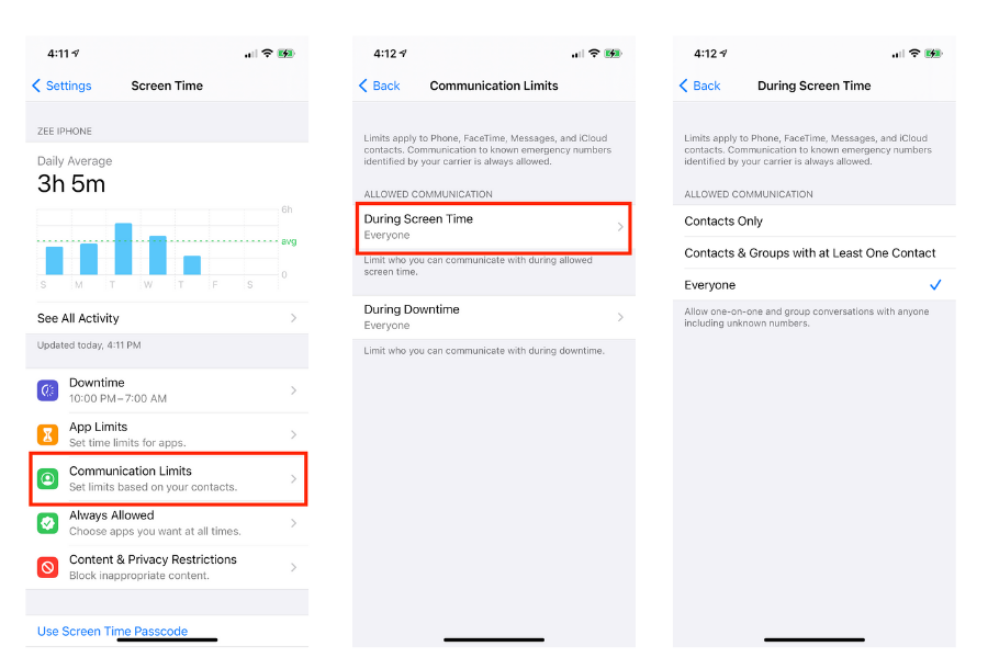 Set Communication Limits in Screen Time iPhone